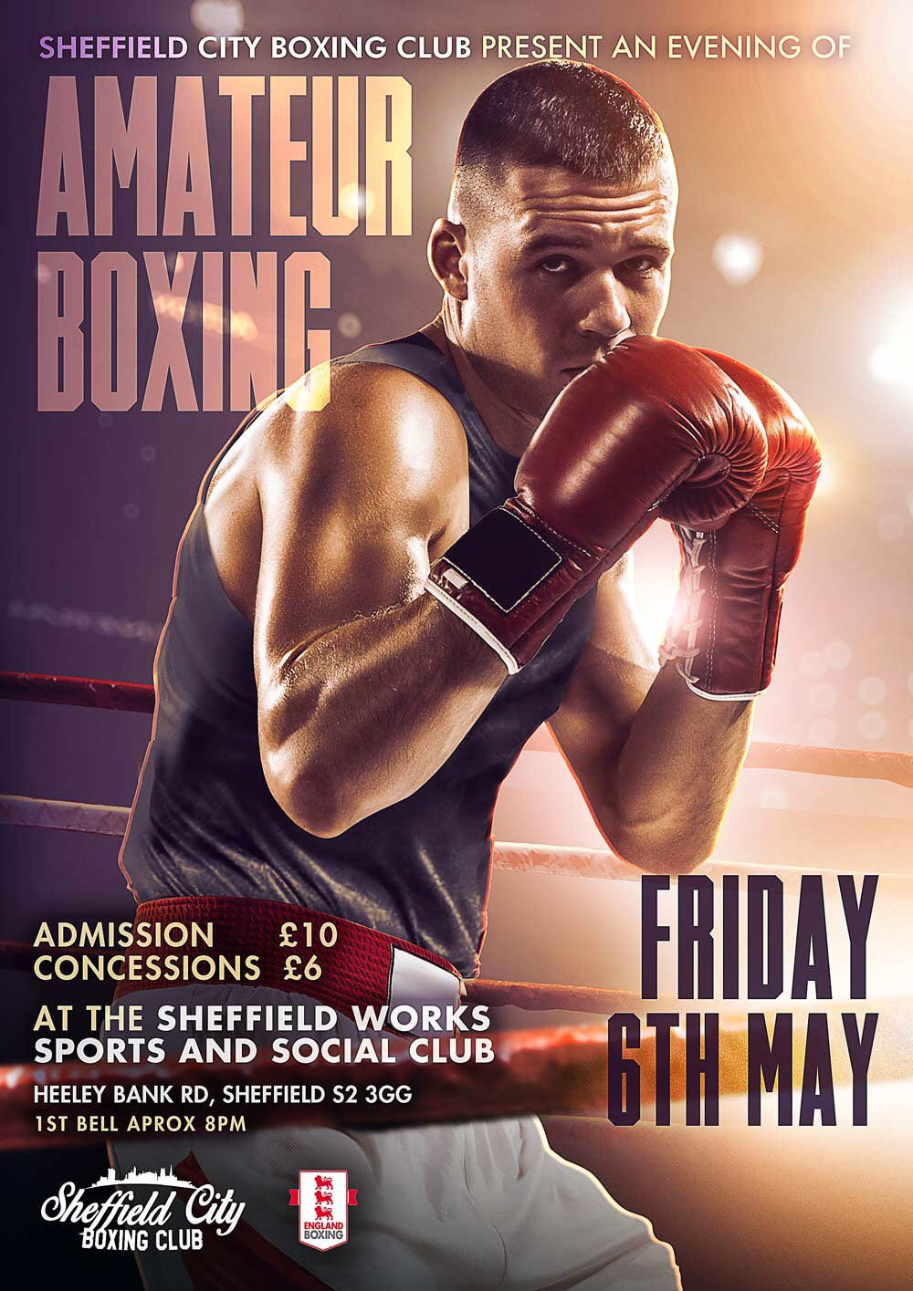 amateur boxing poster for sheffield boxing club