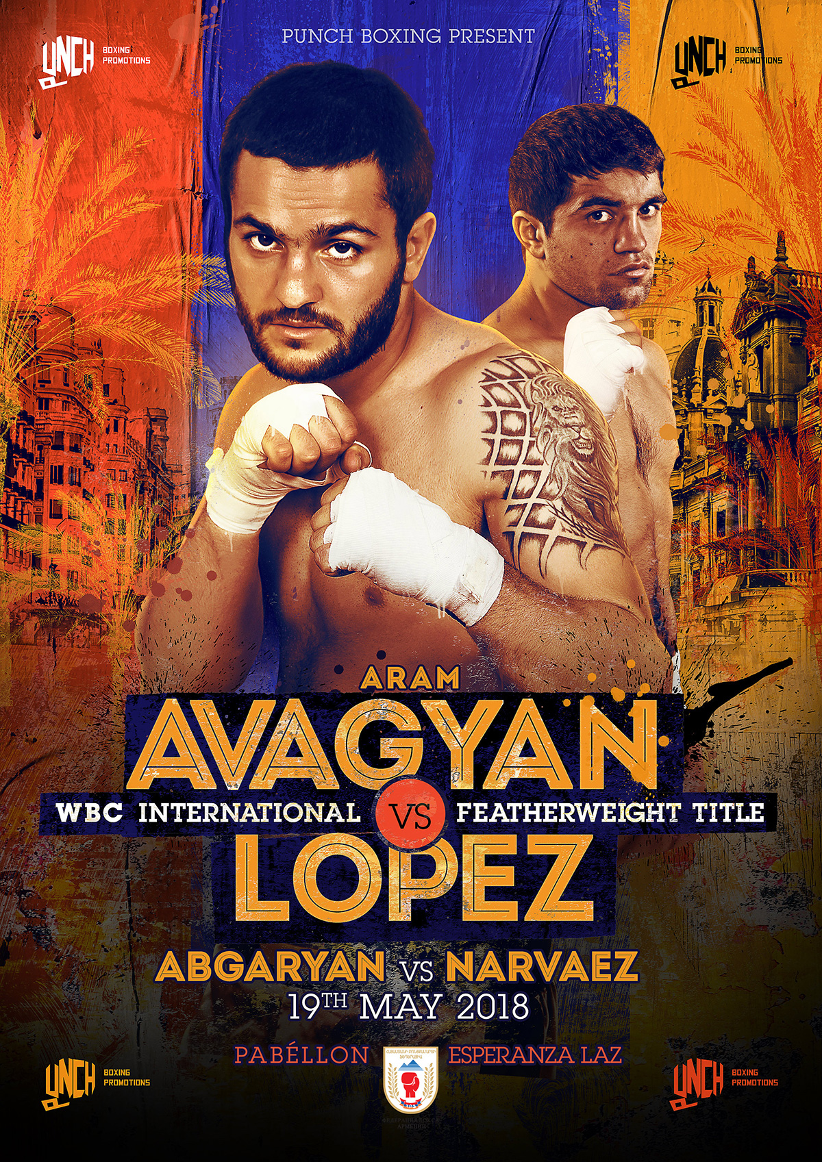 poster for a boxing fight in Valencia, Spain featuring Aram Avagyan and Emmanuel Lopez