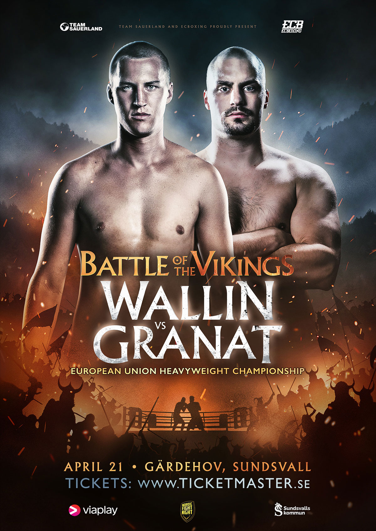 poster for the battle of the vikings heavyweight boxing fight in Sweden