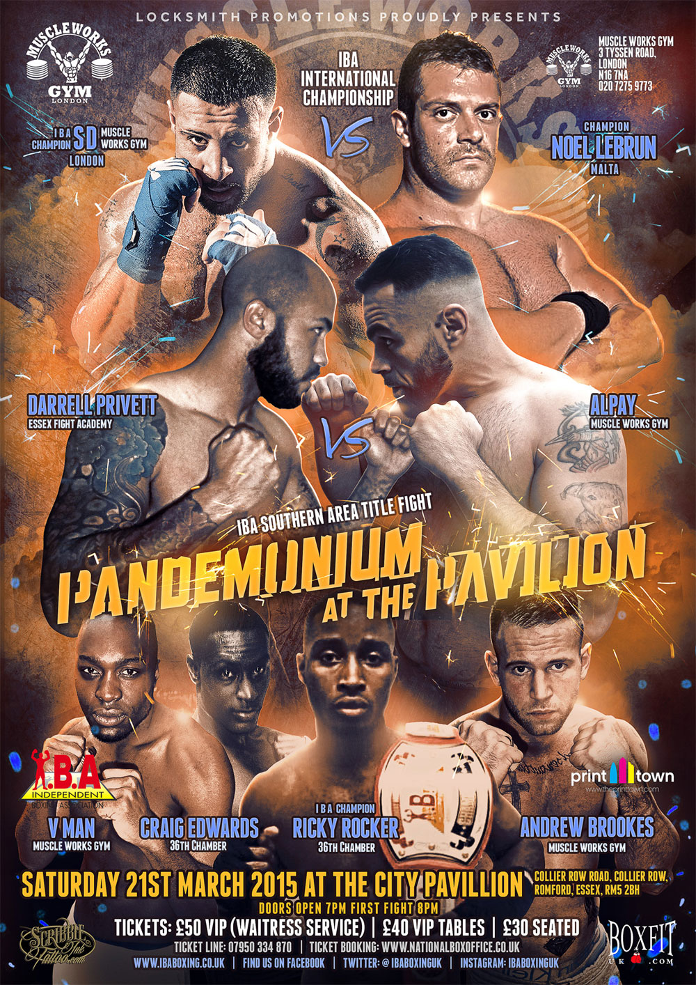 fight poster for Pandemonium at the Pavillion