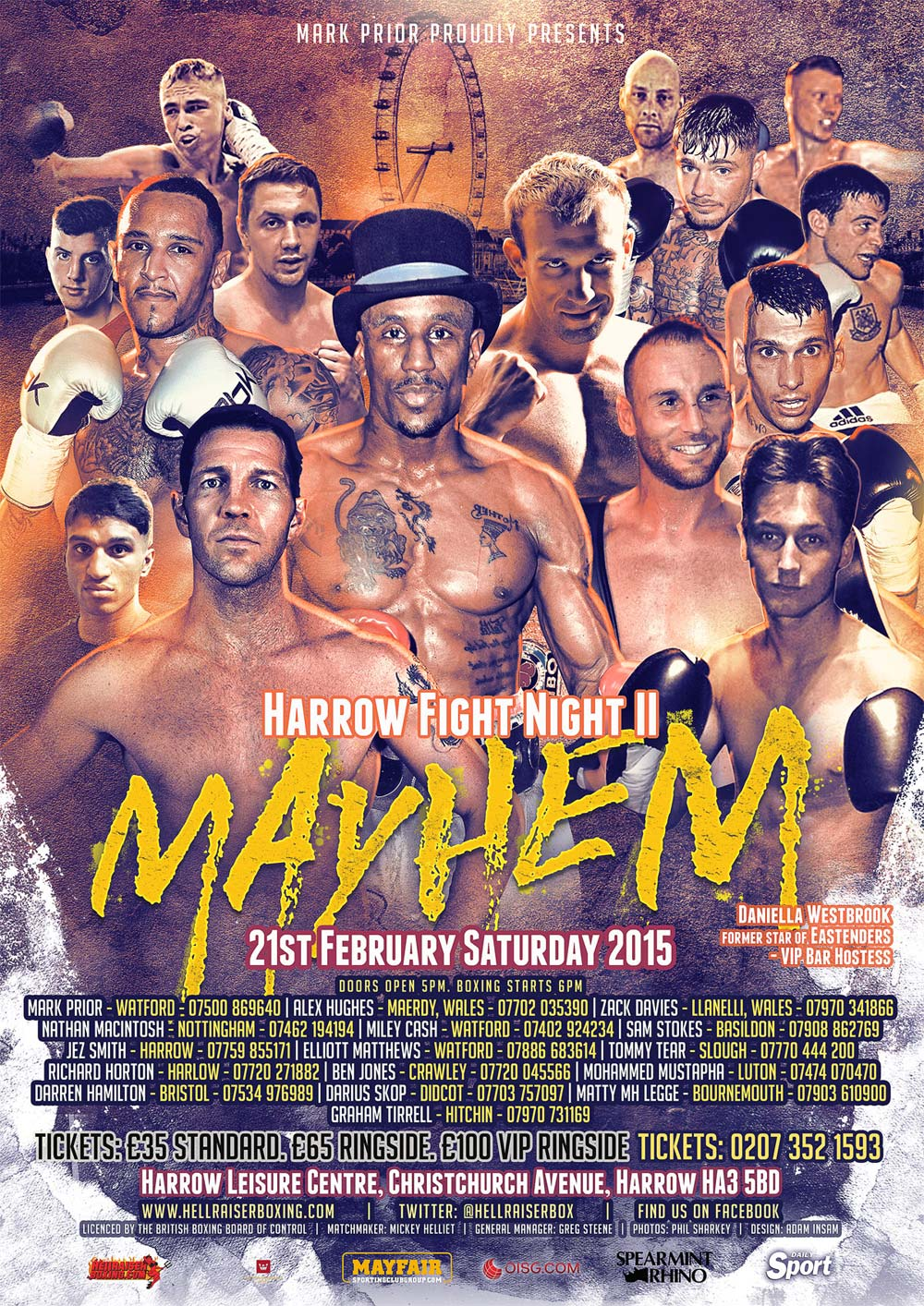 Mayhem harrow boxing poster