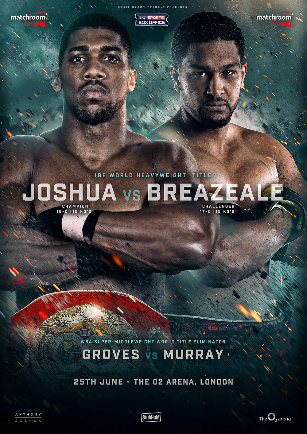 anthony joshua vs dominic breazeale IBF championship title fightboxing poster design