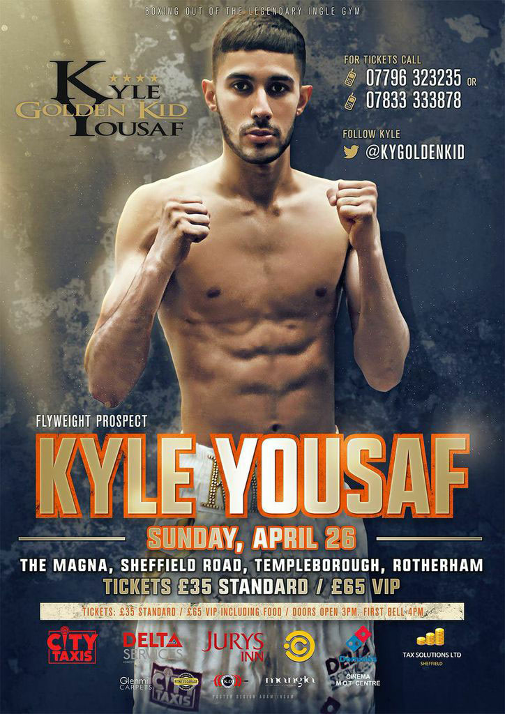 fight poster for Sheffield boxer Kyle Yousaf