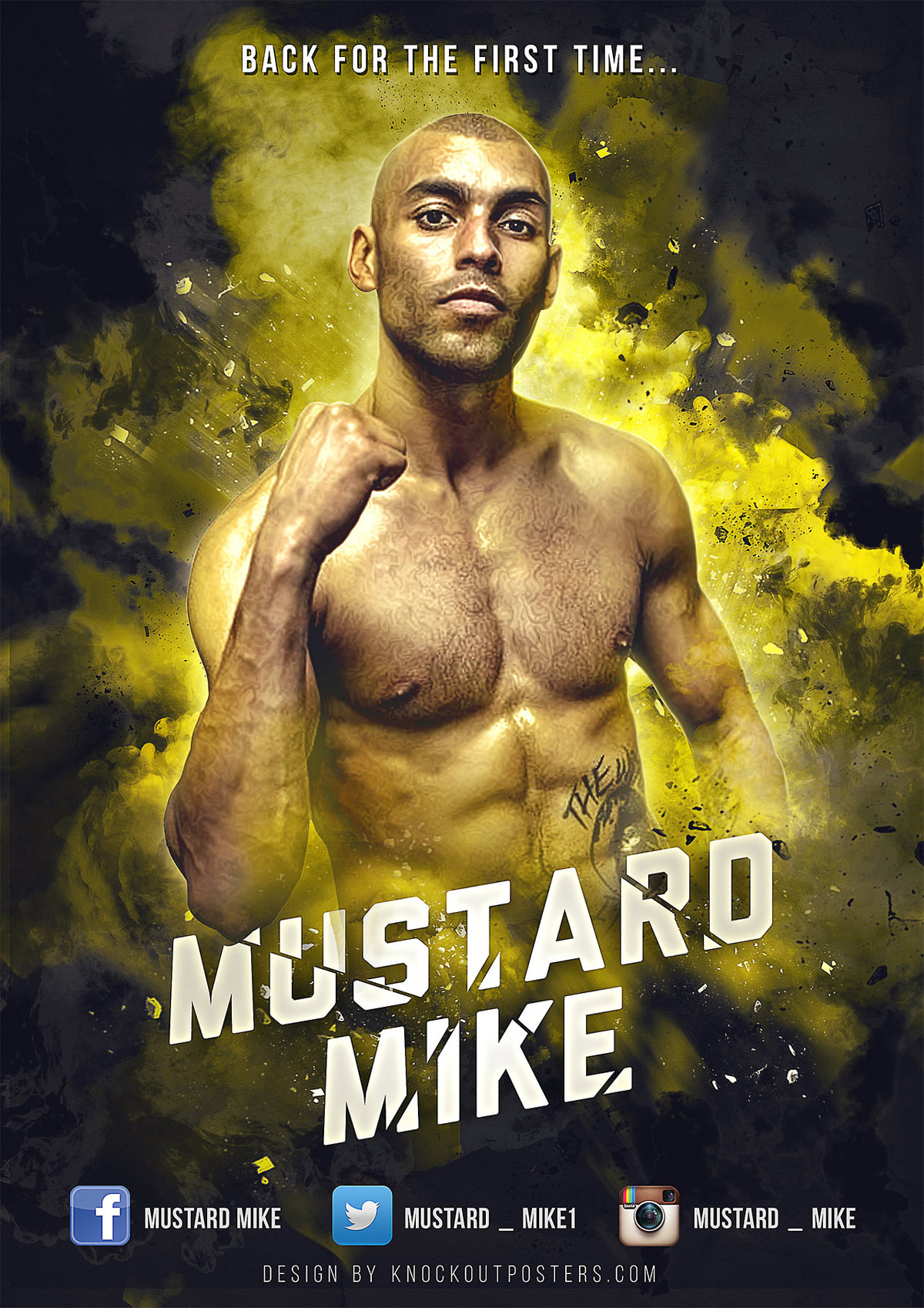 mustard mike boxing poster design
