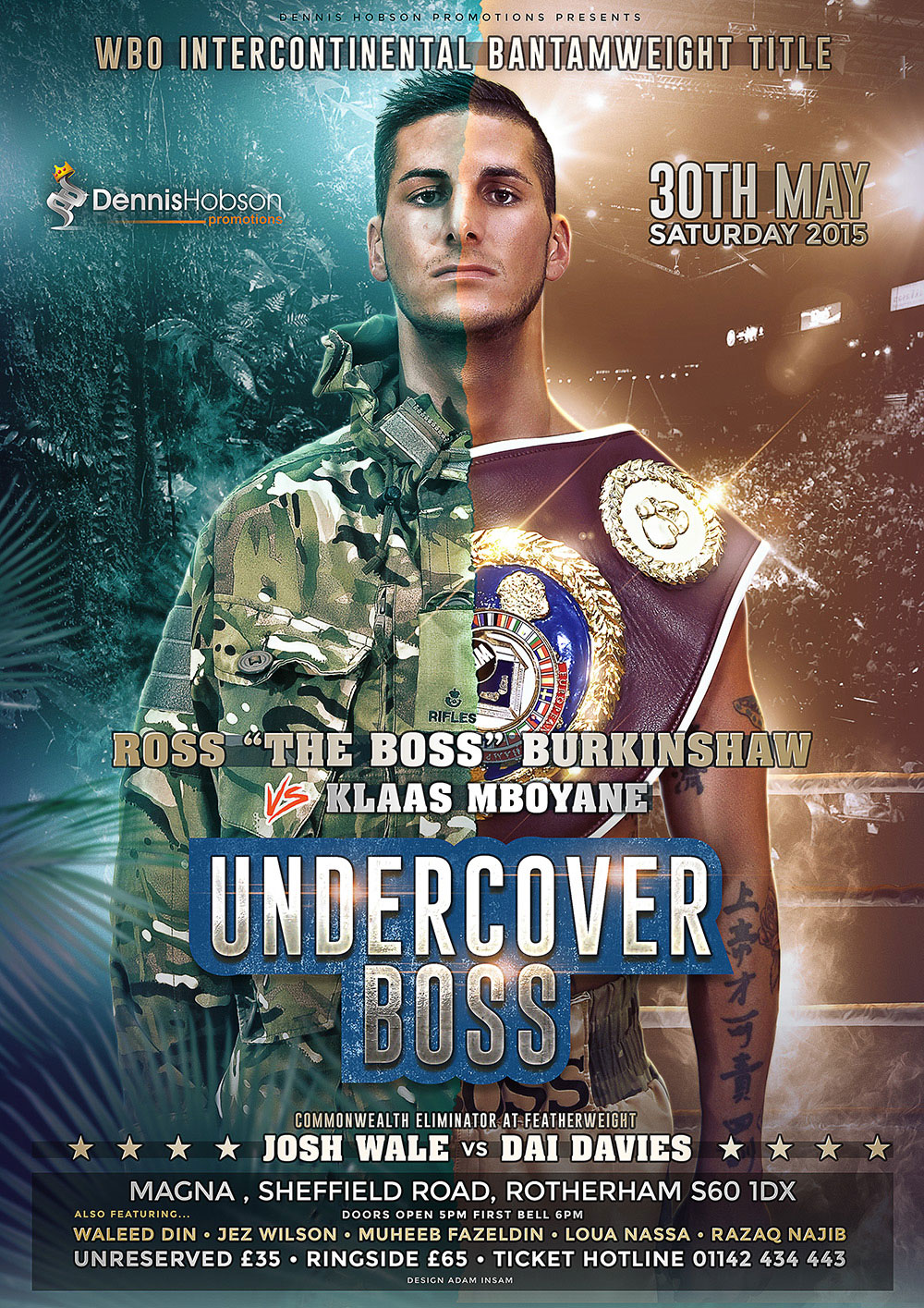 fight poster for sheffield boxing show undercover boss