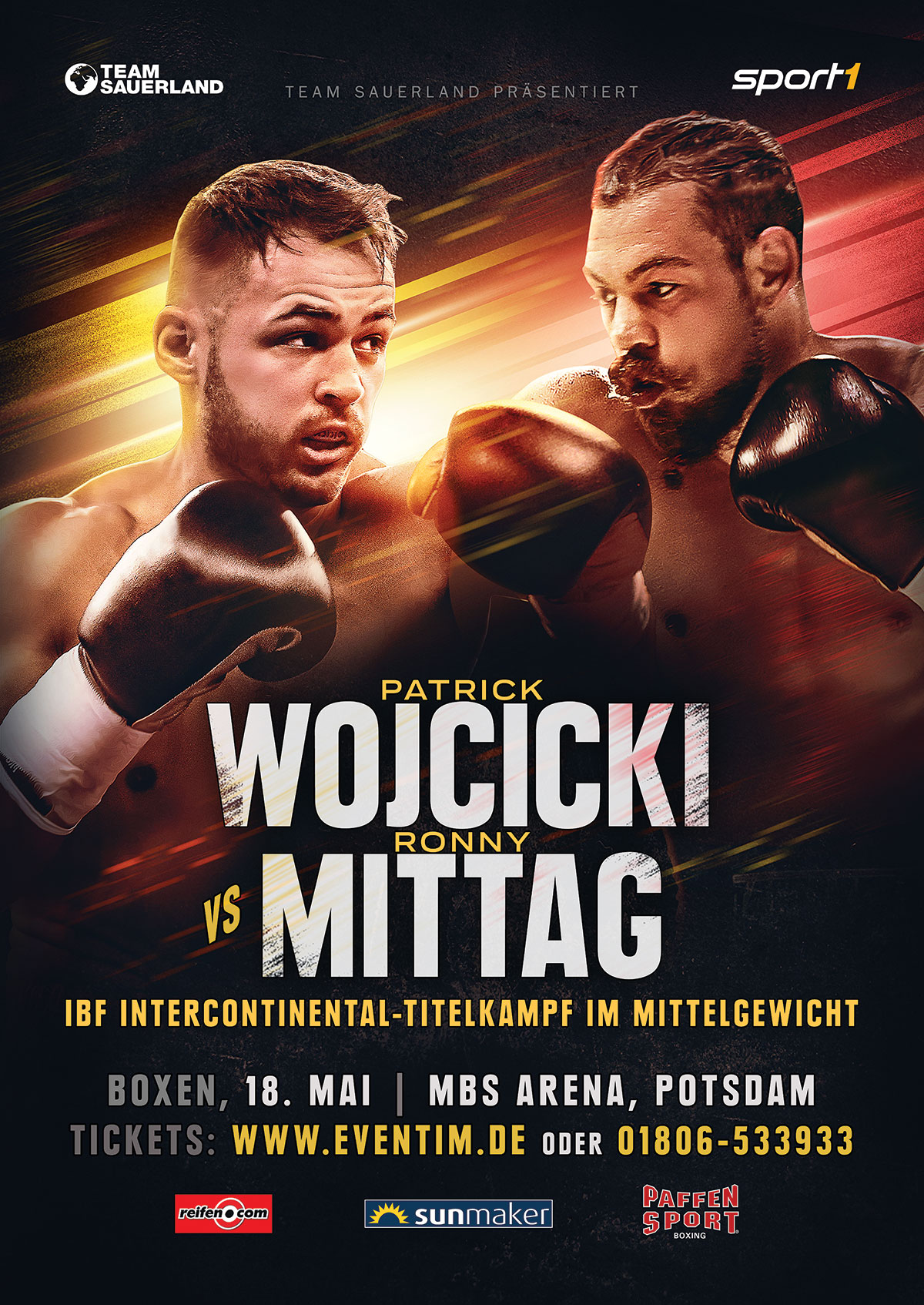 poster for Patrick Wojcicki's fight against Ronny Mittag in Potsdam, Germany