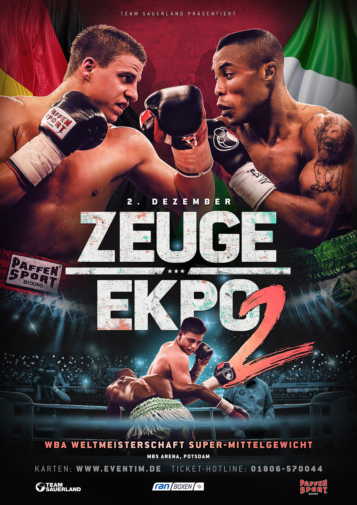 poster for a boxing fight in Germany featuring Tyron Zeuge and Isaac Ekpo